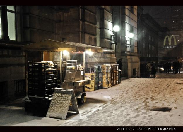 Toronto, Snow, Hot Dog Cart, Street Photography, Mike Crisolago