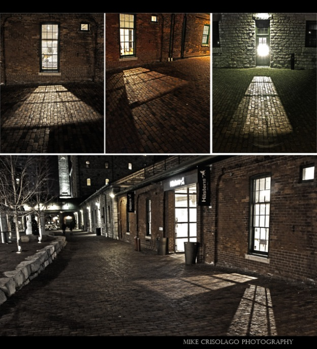 Toronto, Distillery District, Window, Lights, Cobblestone, Collection